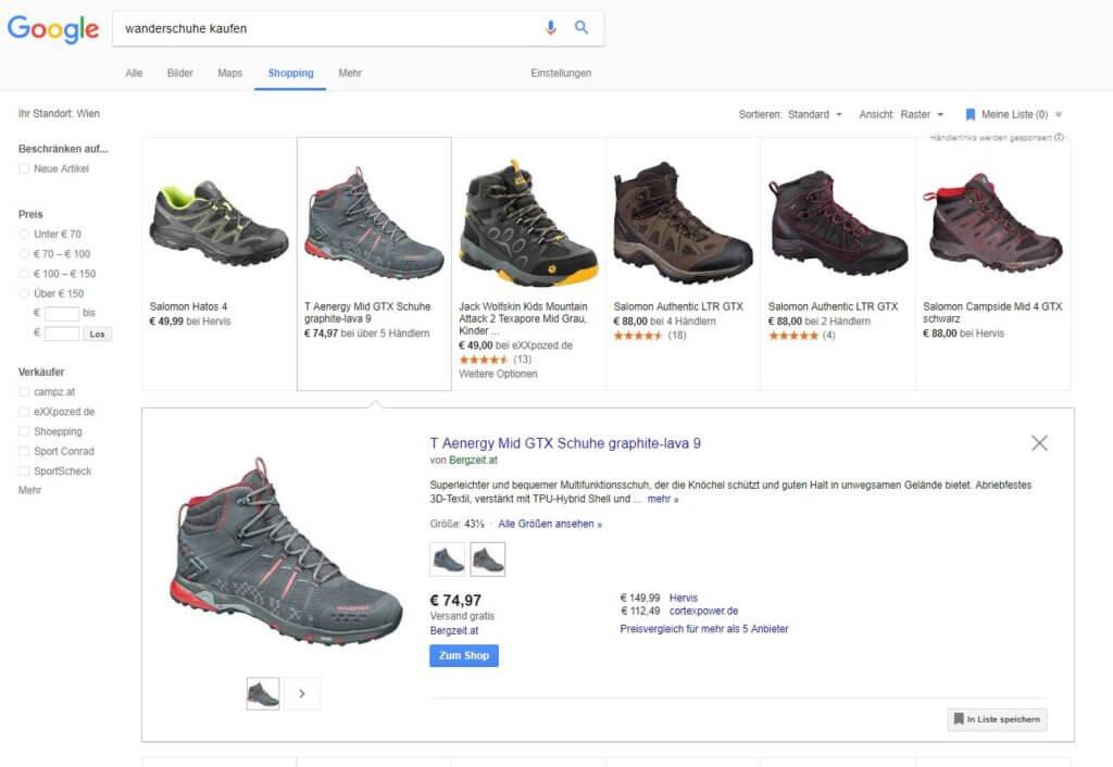 Google Shopping Kategorieseite & Produktansicht
