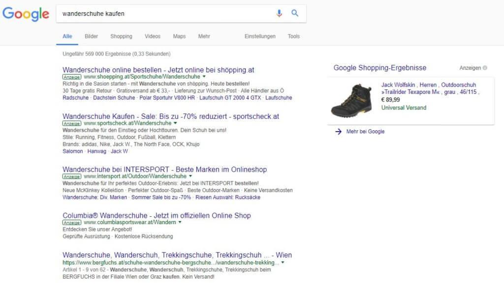 Google Shopping Anzeigen neben dem Suchergebnis
