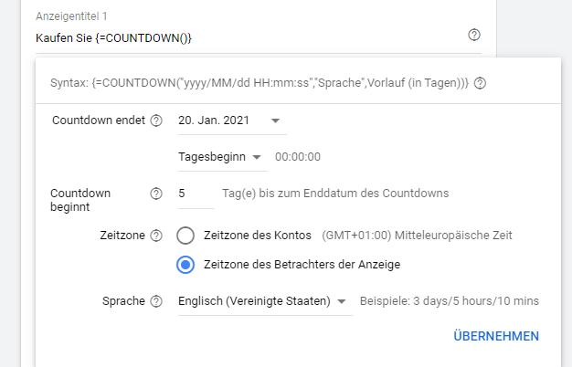Anzeigentext Countdown otago